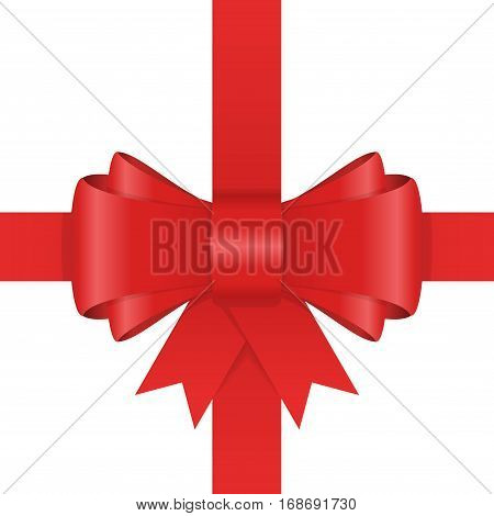 Beautiful red bow with horizontal and vertical ribbon isolated on white background. Vector illustration decorative element. Single gift knot of Ribbon in flat style design.