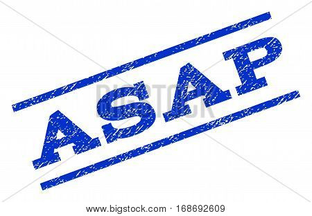 Asap watermark stamp. Text tag between parallel lines with grunge design style. Rotated rubber seal stamp with dirty texture. Vector blue ink imprint on a white background.
