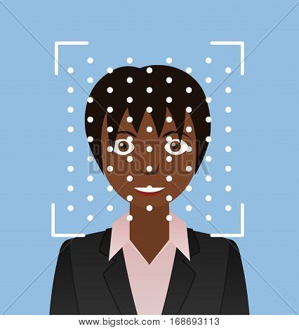 Biometrical identification. Facial recognition system concept. African american woman. Vector illustration