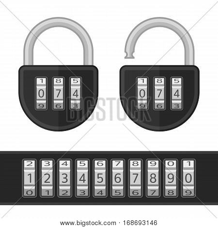 Combination, number code lock with keypad. Device entering security system code. Data protection, security concept. Modern combination Lock icon set. Vector illustration in flat style.
