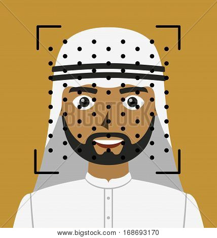 Biometrical identification. Facial recognition system concept. Arab man. Vector illustration