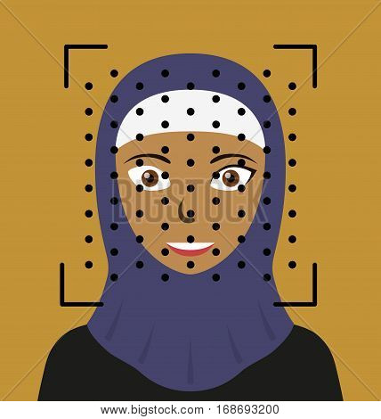 Biometrical identification. Facial recognition system concept. Arab woman. Vector illustration