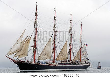 VARNA, BULGARIA - MAY 03, 2014: Historical seas Tall Ship Regatta 2014. The Russian tall ship