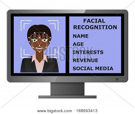 Biometrical identification. Facial recognition system concept. Face recognition program on monitor. African american woman. Vector illustration