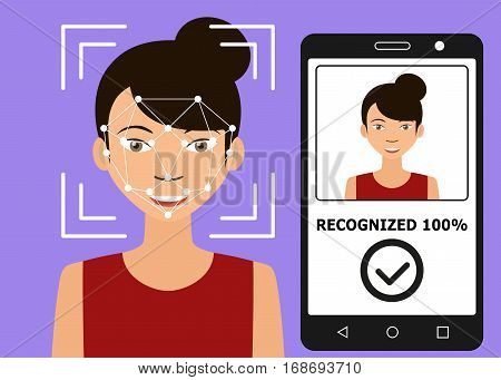 Biometrical identification. Facial recognition system concept. Mobile app for face recognition. Asian woman. Vector illustration