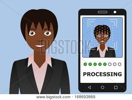 Biometrical identification. Facial recognition system concept. Mobile app for face recognition. African american woman. Vector illustration
