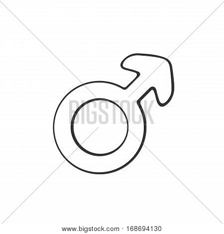 Vector illustration. Hand drawn doodle with male Mars symbol. Gender pictogram. Cartoon sketch. Decoration for greeting cards, posters, emblems