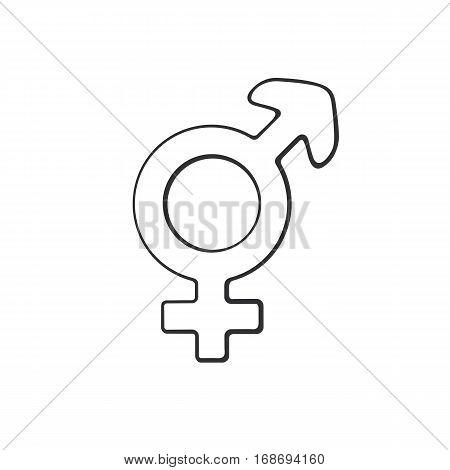 Vector illustration. Hand drawn doodle with transgender or hermaphrodite symbol. Gender pictogram. Cartoon sketch. Decoration for greeting cards, posters, emblems