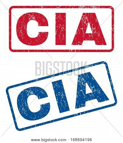 CIA text rubber seal stamp watermarks. Vector style is blue and red ink caption inside rounded rectangular banner. Grunge design and scratched texture. Blue and red emblems.
