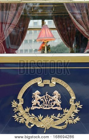 VARNA, BULGARIA - SEPTEMBER 3:The legendary 'Orient Express' arrives at station in Varna on September 3, 2013 in Varna Bulgaria. The luxury train travels between Paris and Istanbul.