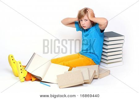 Student girl in frustration after hard studying