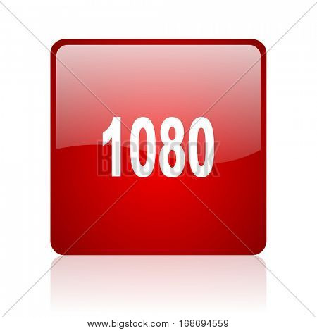 1080 red square web glossy icon
