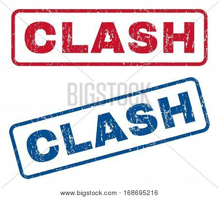 Clash text rubber seal stamp watermarks. Vector style is blue and red ink caption inside rounded rectangular shape. Grunge design and unclean texture. Blue and red stickers.