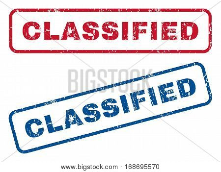 Classified text rubber seal stamp watermarks. Vector style is blue and red ink caption inside rounded rectangular shape. Grunge design and scratched texture. Blue and red stickers.