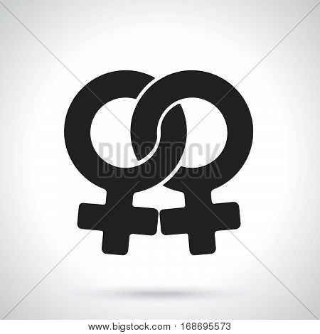 Vector illustration. Silhouette of female homosexual Venus symbol. Gender pictogram. Template or pattern. Decoration for greeting cards wallpapers emblems