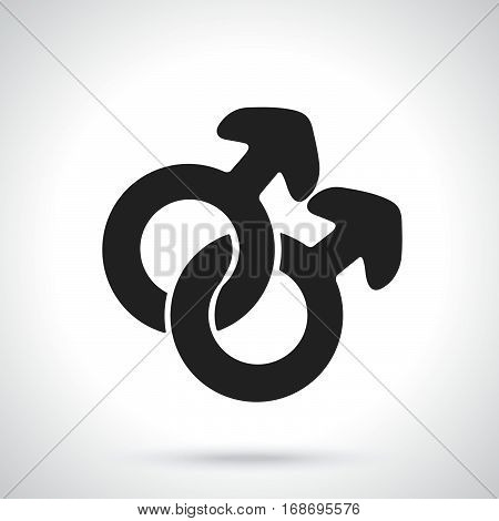 Vector illustration. Silhouette of male homosexual mars symbol. Gender pictogram. Template or pattern. Decoration for greeting cards wallpapers emblems