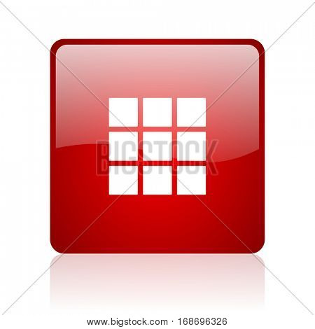 thumbnails grid red square web glossy icon