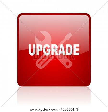 upgrade red square web glossy icon