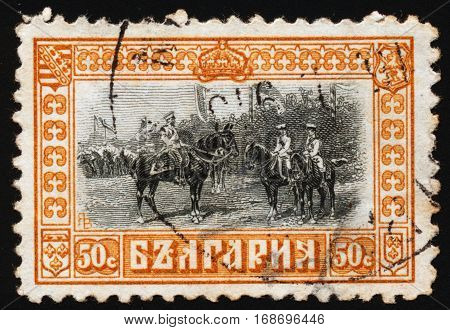 BULGARIA - CIRCA 1911: Postage stamp printed in Bulgaria dedicated to Ferdinand I Tsar of Bulgaria and his sons knyaz Boris and prince Kyril circa 1911.