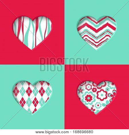 Paper colorful cards with heart. Vector illustration.