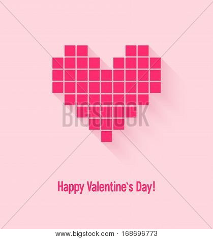 Valentines day card with abstract pixel heart. Vector illustration.