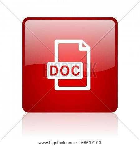 doc file red square web glossy icon.