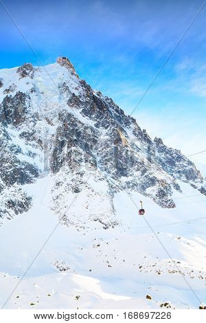 The mountain top station of the Aiguille du Midi in Chamonix mont blanc, France and cable car