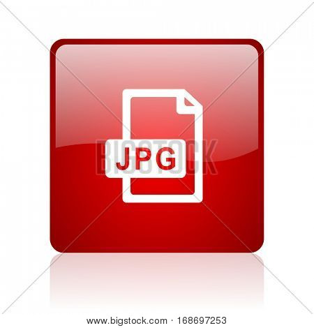 jpg file red square web glossy icon.