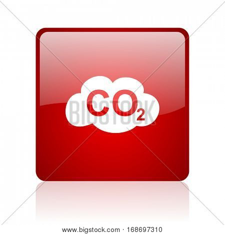 carbon dioxide red square web glossy icon