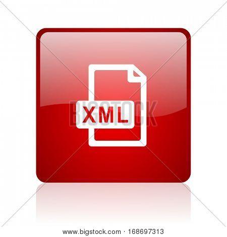 xml file red square web glossy icon.