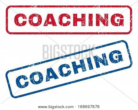 Coaching text rubber seal stamp watermarks. Vector style is blue and red ink caption inside rounded rectangular banner. Grunge design and scratched texture. Blue and red stickers.