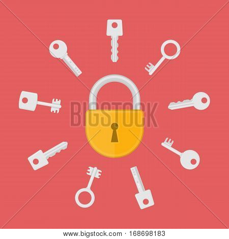 Lock with key flat vector illustration. Sign of security, unlocking, access or password. Keys and lock icon in modern flat style.