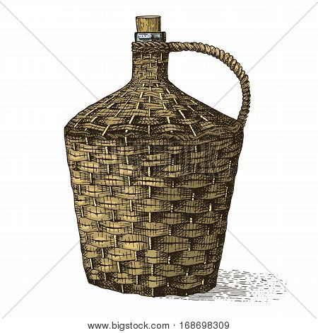 Wine old braided traditional bottle hand drawn engraved old looking vintage illustration in scratchboard style