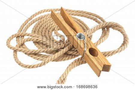 Clothespin and rope isolated on white background, with clipping path