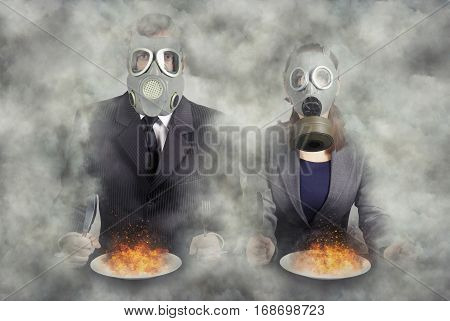 Apocalypse. A pair of gas masks at dinner abstract vision.Photo manipulation