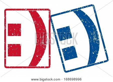 Colon text rubber seal stamp watermarks. Vector style is blue and red ink tag inside rounded rectangular shape. Grunge design and unclean texture. Blue and red signs.