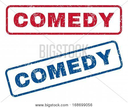Comedy text rubber seal stamp watermarks. Vector style is blue and red ink tag inside rounded rectangular banner. Grunge design and dirty texture. Blue and red signs.