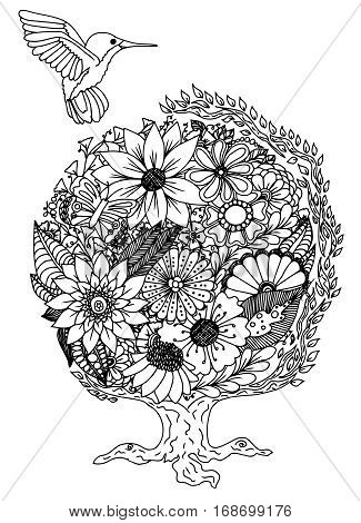 Colibri. Flowers. Vector illustration. Doodle drawing. Meditative exercise. Coloring book anti stress for adults.