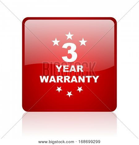 warranty guarantee 3 year red square web glossy icon