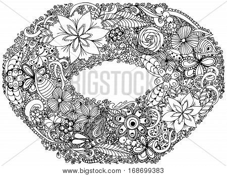 Photo frame, wreath, garland, crown, circlet of flower. Vector illustration. Doodle drawing. Meditative exercise. Coloring book anti stress for adults. Black and white.