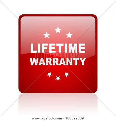 lifetime warranty red square web glossy icon