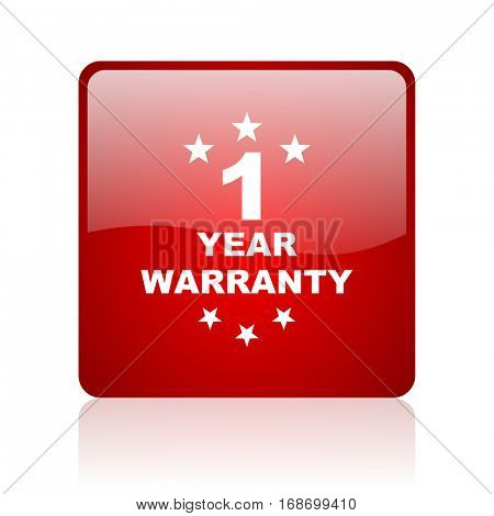 warranty guarantee 1 year red square web glossy icon