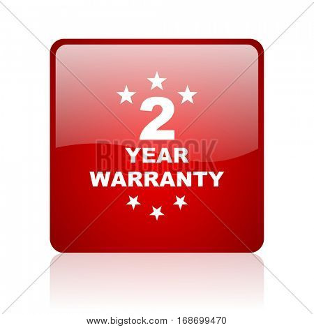 warranty guarantee 2 year red square web glossy icon