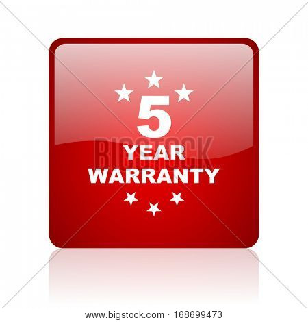 warranty guarantee 5 year red square web glossy icon