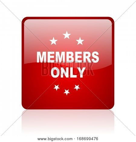 members only red square web glossy icon