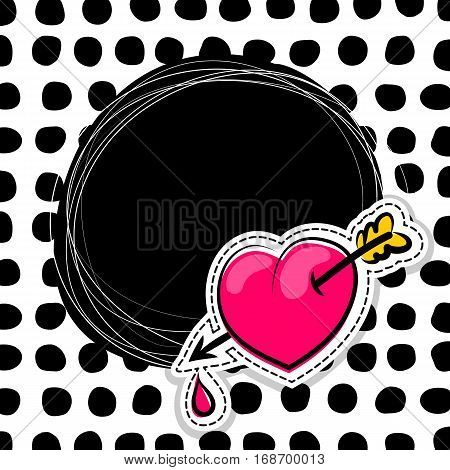 Fashion patch badges elements with hearts, comic speech bubbles on round point background. Vector illustration. Woman stickers, pins, patches in cartoon 80s-90s comic text style balloon.