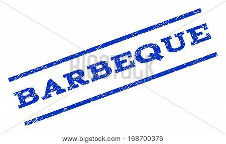 Barbeque watermark stamp. Text tag between parallel lines with grunge design style. Rotated rubber seal stamp with dirty texture. Vector blue ink imprint on a white background.