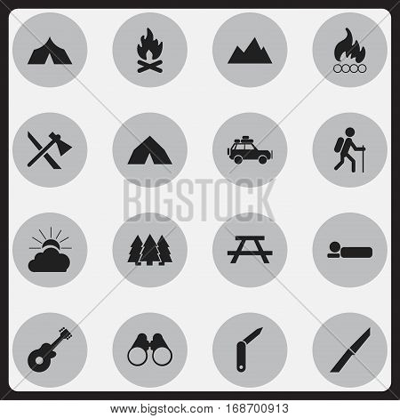 Set Of 16 Editable Travel Icons. Includes Symbols Such As Blaze, Musical Instrument, Clasp-Knife And More. Can Be Used For Web, Mobile, UI And Infographic Design.
