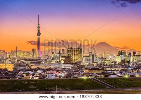 Tokyo, Japan skyline with Mt. Fuji and Tower.