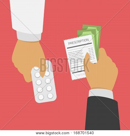 Buying, sell medical pills concept. Hand of the Doctor giving pills in blister pack, the second hand gives money and prescription. Medical treatment concept. Taking tablets, drugs, capsules, medicine.